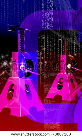 Digital illustration of Car lift in colour background