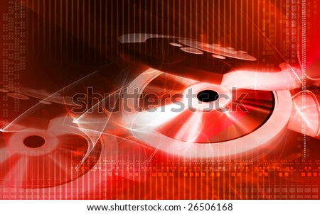 Digital illustration of CD player and disk