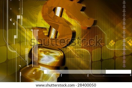 Digital illustration of chess board and dollar