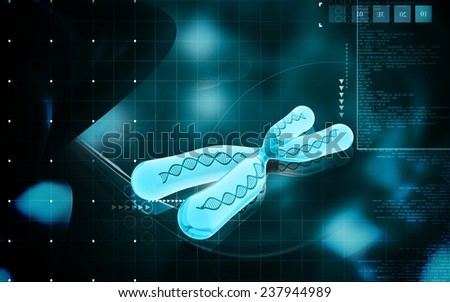 Digital illustration  of chromosome in   colour background   - stock photo