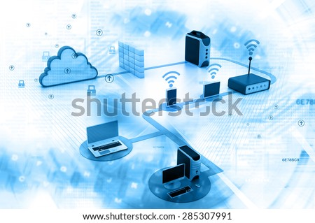 Digital illustration of Cloud computing devices - stock photo