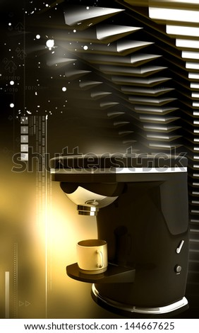Digital illustration of coffee maker in colour background