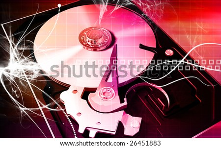 Digital illustration of compact disc reader