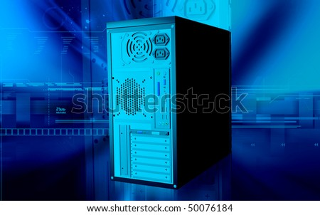 Digital illustration of computer case in colour background	 - stock photo