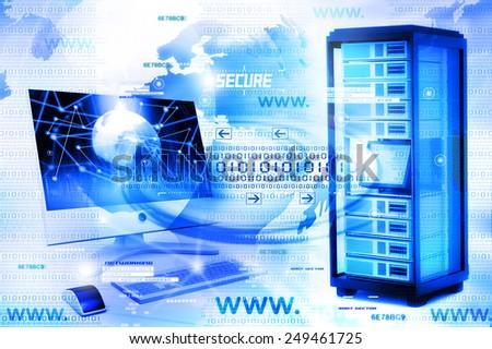 Digital illustration of Computer network  - stock photo