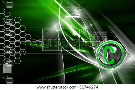Digital illustration of copy right symbol - stock photo