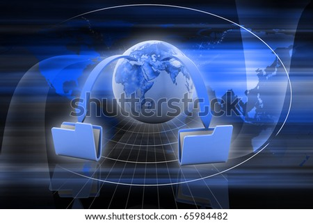 Digital illustration of Data transfering concept in colour background - stock photo