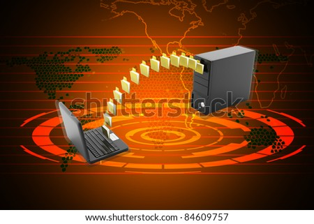 Digital illustration of Data transferring in color background - stock photo