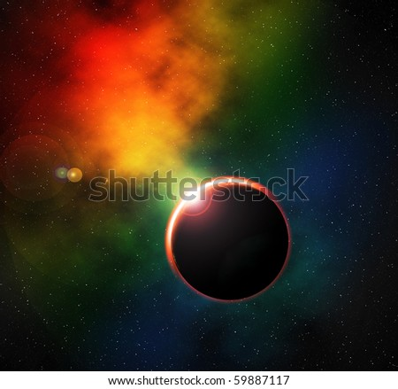 Digital illustration of deep space, colorful nebula and eclipse