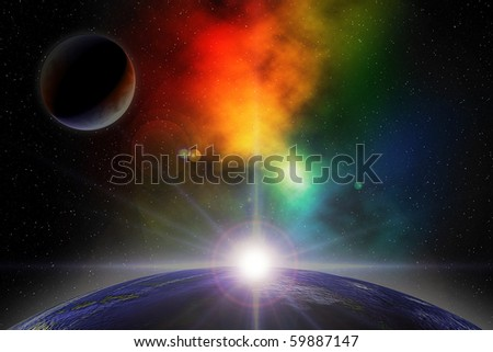 Digital illustration of deep space scene with planets and nebula