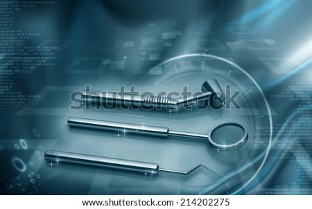 Digital illustration of  Dental equipment in colour background  - stock photo