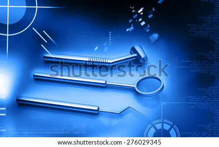 Digital illustration of  Dental equipment in colour background  - stock photo