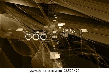 Digital illustration of digital background in dark