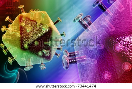 Digital illustration of  digital background in hiv virus