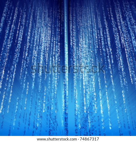 Digital illustration of Digital Computer Data Streams on blue. - stock photo