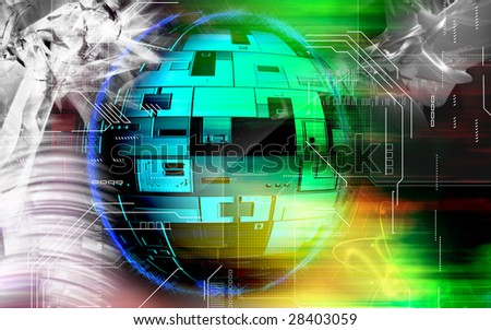 Digital illustration of digital globe