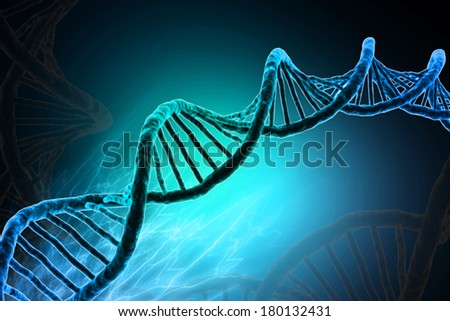 Digital illustration of DNA in colour background - stock photo