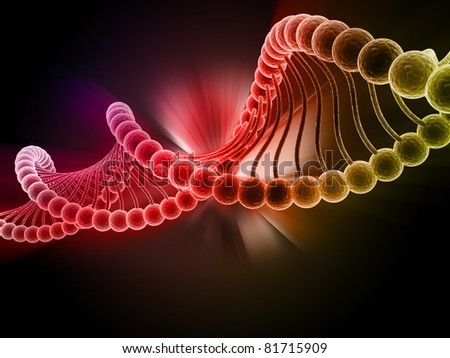 Digital illustration of dna structure in 3d on COLOR background - stock photo