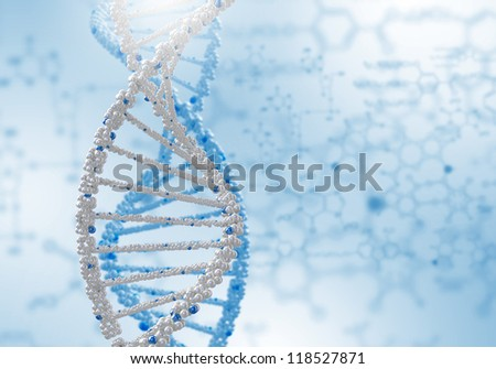 Digital illustration of dna structure on colour background - stock photo