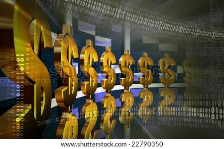 Digital illustration of dollar background - stock photo
