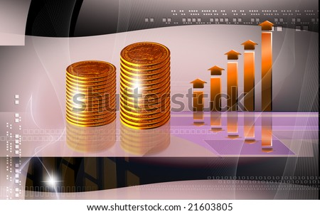 Digital illustration of dollar coin in red colour  - stock photo