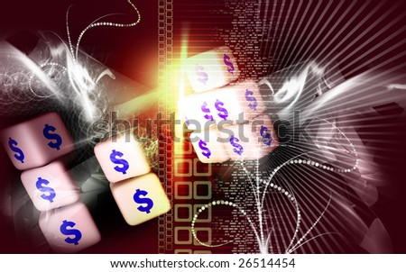 Digital illustration of dollar cubes with colour background