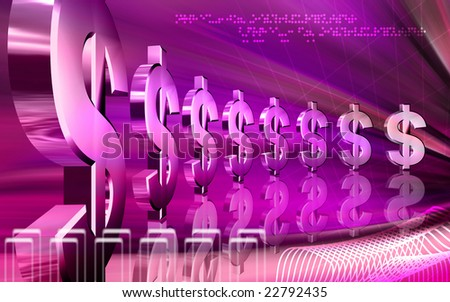 Digital illustration of dollar in blue colour  - stock photo