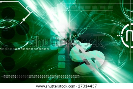 Digital illustration of Dollar sign Dollar sign and chain - stock photo