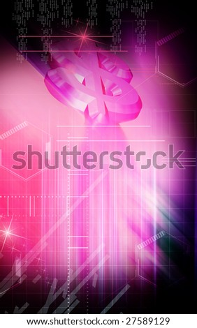Digital illustration of Dollar sign in colourful background