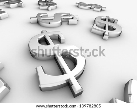 Digital illustration of dollar sign in white background / Dollar Sign - stock photo