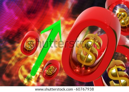 digital illustration of dollar sign with arrow in color background - stock photo