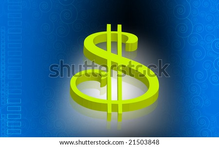 Digital illustration of Dollar sign with colour background