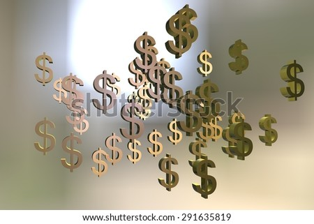 Digital illustration of Dollar signs on colorful background
