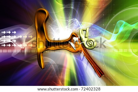 Digital illustration of  ear in colour  background
