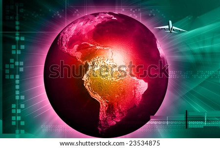 Digital illustration of earth with light