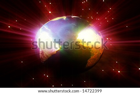 digital illustration of earth with particles around