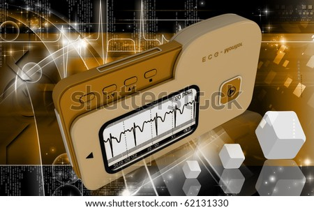 Digital illustration of  ECG in  colour  background