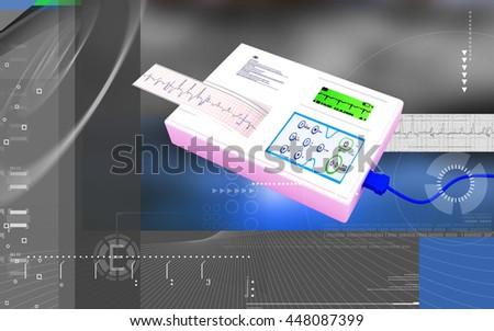 Digital illustration of  ECG in  colour  background. 3D rendering - stock photo