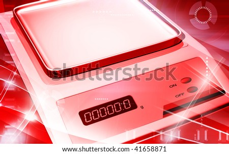 Digital illustration of Electronic  balance in colour background