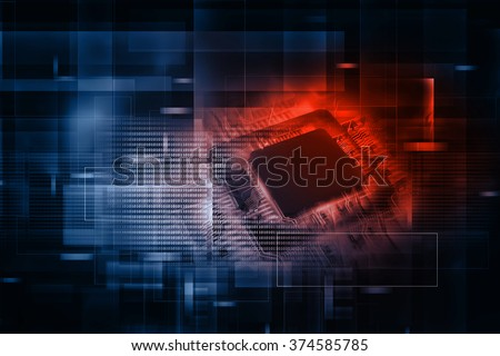 Digital illustration of Electronic integrated circuit chip - stock photo