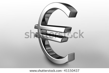 Digital illustration of euro sign in isolated background