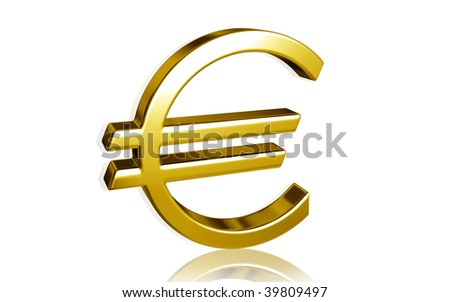 Digital illustration of euro symbol in isolated background