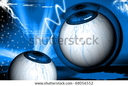 Digital illustration of  eye   in  colour  background