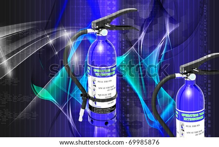 Digital illustration of fire extinguisher in color background