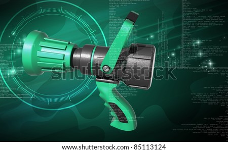 Digital illustration of fire fighting nozzle in colour background