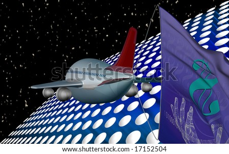 Digital illustration of flight flying to dollar flag