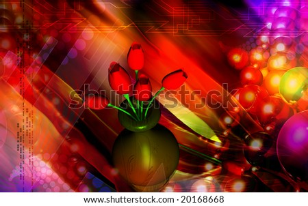 Digital illustration of flower with colour background