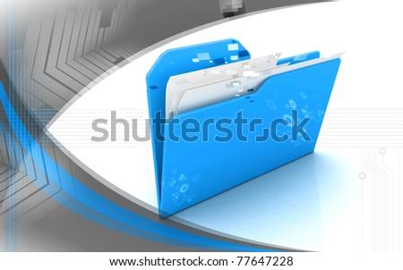 Digital illustration of folder in color background - stock photo
