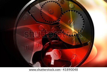Digital illustration of gears in a dial watch - stock photo