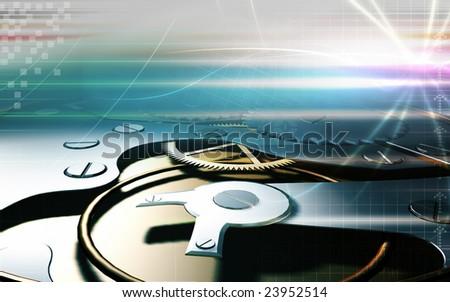 Digital illustration of  gears inside the wristwatch - stock photo